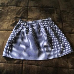 White and Navy Pleated Skirt